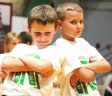 Lucas Durham, left, and Ethan Walston strike a pose.