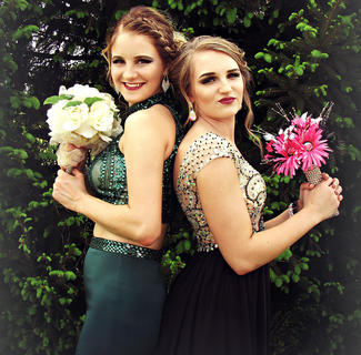 Pictured are Natalie Newton and her best friend McKenna Bartley before prom. Photo taken by Lisha Mitchell.