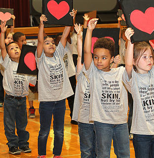 Pictured are kindergartners Antonio Cruz, Jennifer Olvera, Jarrett Dunn and Kinsley Smothers.