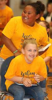 Pictured are third graders Dezarae Washington and Carlie Leake.