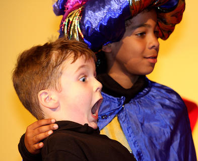 Elijah Orberson, playing the part of a young Prince Philip, reacts to the thought of kissing a girl. Also pictured with Orberson is LaQuan Williams as King Hubert.