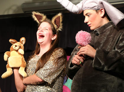 Sour Kangaroo, played by Ann-Michelle Hughes, left, laughs hysterically at Horton, played by Cameron Ruley.