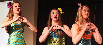 Pictured, from left, are Libby Pilagi as Andrina, Olivia Ballard as Arista and Chloe Holt as Adella. They are all Ariel's sisters.