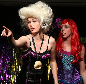 Libby Palagi, left, plays the part of evil, repulsive Ursula, the sea witch, a destroyer of souls. Jessica Thomas, right, plays the part of Ariel.