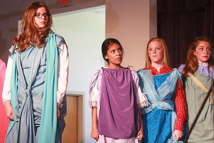 Citizens of River City (from left, Alexis Hayden, Sarah Castillo, Caroline Buckman and Jaci Benningfield) learn the truth about Harry Hill.