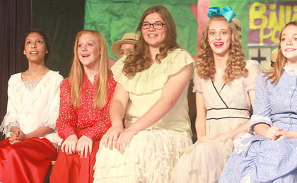 The townspeople of River City are impressed with Harry Hill's idea of creating a boys band. From left, they are Sarah Castillo, Caroline Buckman, Alexis Hayden, Cassandra Thomas, and Jaci Benningfield.