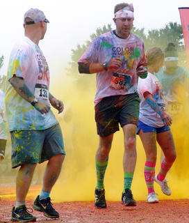 West Marion Elementary Principal Benji Mattingly was one of the more than 2,000 participants in the Color in Motion 5K that came to Lebanon May 11.