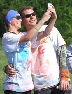 Kelli Smith and Lee Moser of Lexington pose for a selfie after the run.