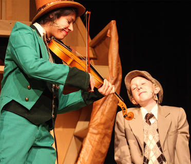 Andy O'Daniel, the grasshopper, plays the violin for James, being played by Ally Howard.