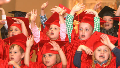 The preschoolers sing songs after walking to the front of the church. Front row (from left): Jax Monin, Whitney Elder and Lyric Stanfield. Second row: Olivia Gribbins, Ella Marrett and Will Elder.