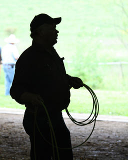 The Marion County Extension Office held The Boots and Saddle Club Round-Up at the Marion County Fairgrounds Saturday. Families from around the community came to participate in the activities and observe various demonstrations from roping cattle to riding horses. Tom Brahm demonstrates roping techniques.