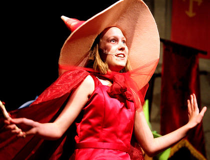 Ally Howard, playing the part of Flora the fairy, sings out to the audience.