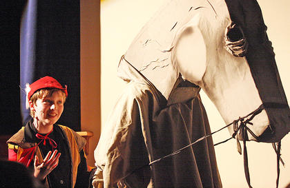 Nico McCann, playing the part of Prince Phillip, makes his grand entrance on a a horse of sorts.