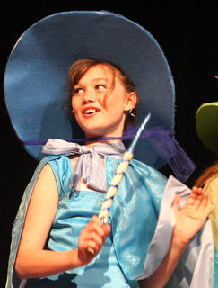 Libby Palagi plays the part of Merryweather the fairy.