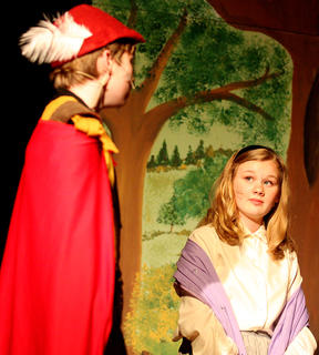 Jane Palagi, playing the part of Princess Aurora, meets Prince Phillip, played by Nico McCann, for the first time.