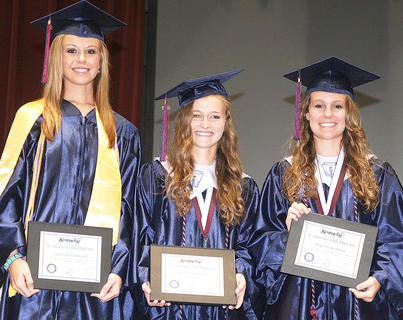 From left, Taylor Howard, Anne Claire Thomas and Paige Wilson received the Commonweath Diploma.