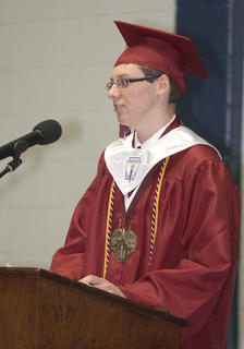 Valedictorian Charles Shofner addresses his classmates.