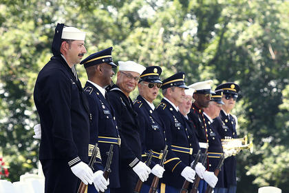 Pictured is the Marion County Honor Guard's firing squad. They are, from left, Tommie Bland, James Porter, Mike Lydian, Marion Thomas, David Kehm, Lenny Nalley, David Thompson, Joe Taylor (bugler) and Frank Spragens (bugler).
