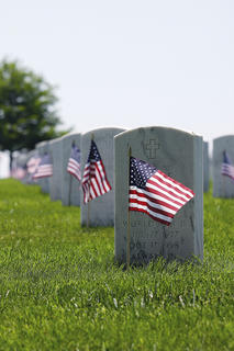 Miniature American flags adorn the tombstones at Lebanon National Cemetery.