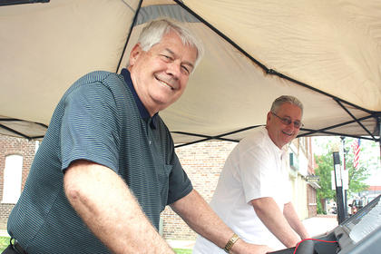 Lebanon City Administrator John O. Thomas and State Sen. Jimmy Higdon were all smiles while participating in the Treadmill Challenge Friday morning.