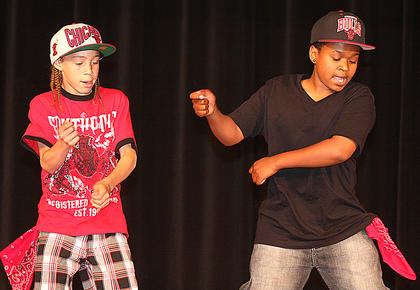 The L.E.B. Boyz - Stephon Salgado and TaSean White - rock the dance floor with their moves. Both 12 years old, they have been dancing together for a year. They won second place in the pre-teen division.