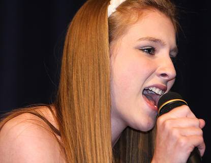 """Hope Riggs sings """"Beautiful"""" by Christina Aguliera. She won second place in the teen division."""