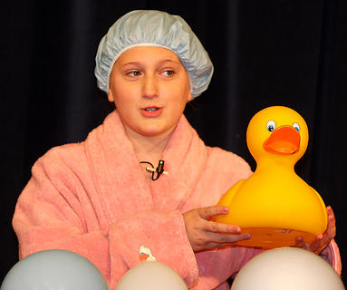 """Emma Humphress, 11, sings """"'Rubber Duckie, You're the One."""""""