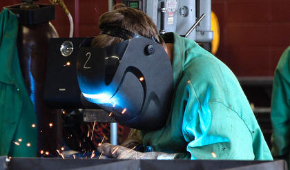 Students participate in welding as part of the Marion County ATC camp.