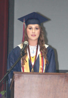 Nicole Mattingly delivers the closing remarks during the ceremony.