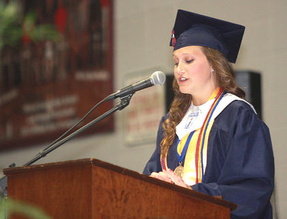 Salutatorian Brooklyn Russell speaks to her classmates.