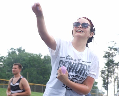 Senior Kelsey Tungate is all smiles in the midst of the fight.