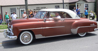 Vernon Coulter drives a 1952 Chevy two-door hard top deluxe in the Old Mill Days parade.