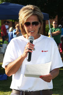 Sharon Stafford of TGKY in Lebanon spoke to the crowd and announced that after having many fundraisers the staff of TGKY was donating $15,000 to Marion County Relay for Life.