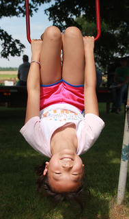 Yukimi Goto, 9, enjoys just hanging around.