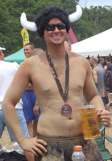 A content warrior enjoys a brew after finishing the race.