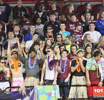 The Marion County student section dressed up in a beach theme for the state tournament game against Montgomery County.