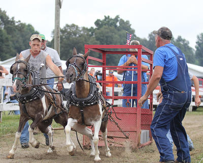 Troy Montgomery works to control his ponies in the pony pull.