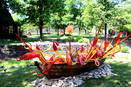 This boat features a vast array of Chihuly's whimsical, nature-inspired shapes, including herons, seal pups, goosenecks, hornets, onions and birch reeds.