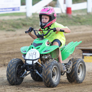 In a mostly male sport, Nevaeh Kays dawned a pink helmet and took to the track.