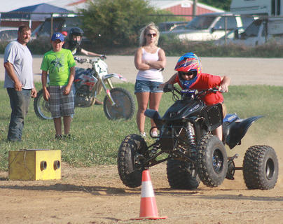 An ATV rider prepares for a practice run before KOI Drag Racing begins July 2.