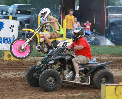 Two riders are lined up for an early heat during the KOI Drag Racing on July 2 at the county fair.