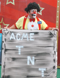"Nojoe's hair got the biggest bang after the ""explosive"" finale of a Nojoe's Circus show July 2 at the Marion County Fair."