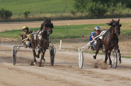 Jim Brenson drives Bob O Link, left, but they couldn't quite catch Tyler Shehan and Sir Barton in the Burkmann Mills one-mile pace July 1 at the Marion County Fair.