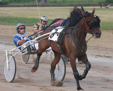 Tyler Shehan drives Gliding Princess past Steve Carter driving Dress for Success to win the Simms Cut-Rate Liquors one-mile trot.