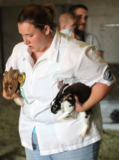 Kelsey Grigsby gets ready to put two of her rabbits back in their cages.