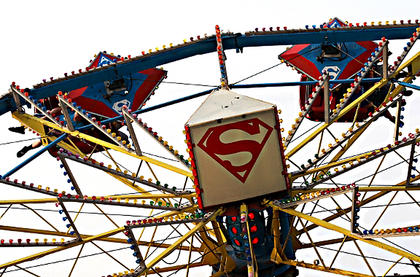 The Superman ride sends fair-goers soaring.