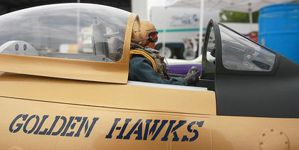 The Golden Hawks plane is modeled after one used by the Royal Canadian Air Force.