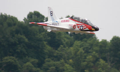This model plane flies in Saturday afternoon's Fighter Jet Showdown. The Navy Redhawks have been around since 1951.