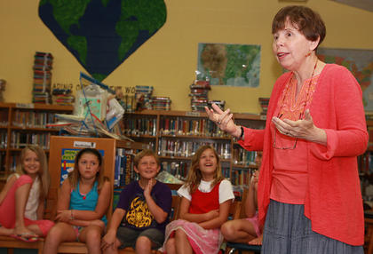 Author George Ella Lyon entertains the art campers by sharing some of her stories and encouraging them to write.