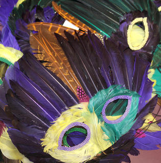 Campers in the drumming group also got to perform with some Mardi Gras-style masks.